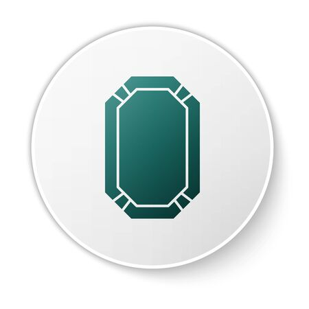 Green Poker table icon isolated on white background. White circle button. Vector Illustration
