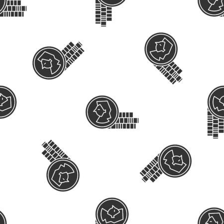Grey Coin for game icon isolated seamless pattern on white background. Vector Illustration