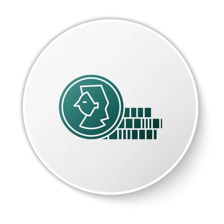 Green Coin for game icon isolated on white background. White circle button. Vector Illustration 일러스트