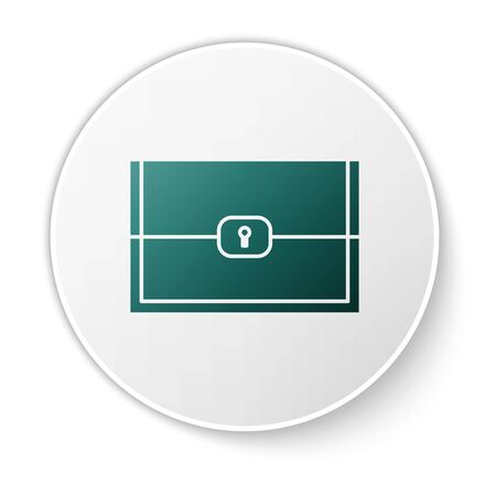 Green Chest for game icon isolated on white background. White circle button. Vector Illustration