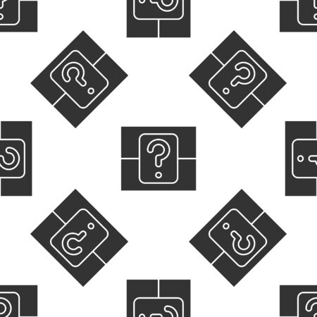 Grey Mystery box or random loot box for games icon isolated seamless pattern on white background. Question box. Vector Illustration 일러스트