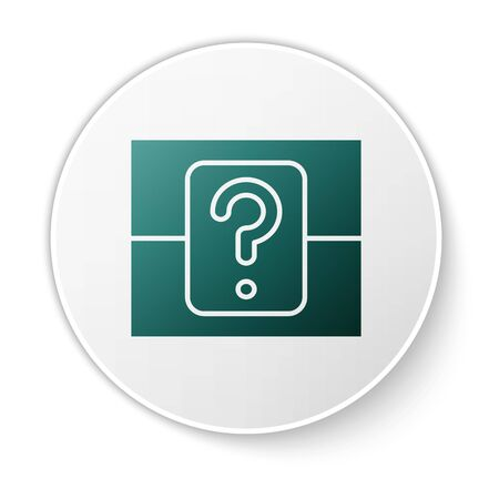 Green Mystery box or random loot box for games icon isolated on white background. Question box. White circle button. Vector Illustration