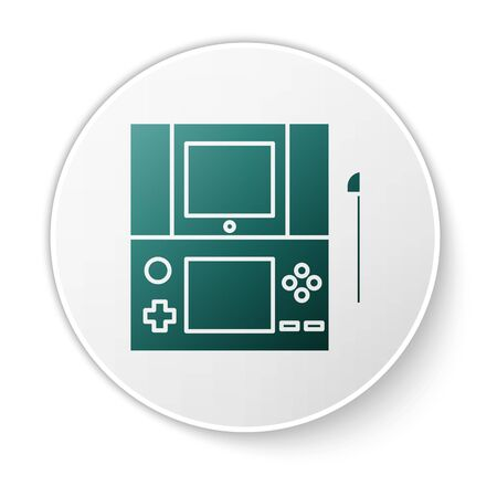 Green Portable video game console icon isolated on white background. Gamepad sign. Gaming concept. White circle button. Vector Illustration