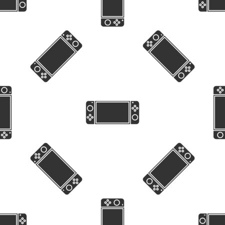 Grey Portable video game console icon isolated seamless pattern on white background. Gamepad sign. Gaming concept. Vector Illustration