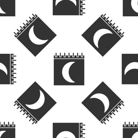 Grey Moon phases calendar icon isolated seamless pattern on white background. Vector Illustration