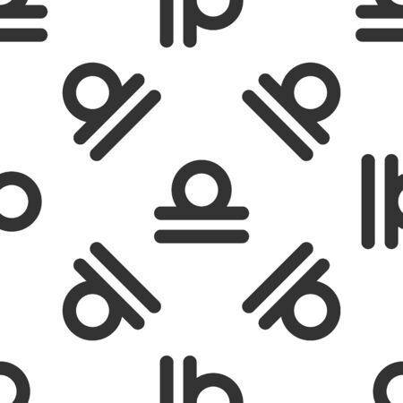 Grey Libra zodiac sign icon isolated seamless pattern on white background. Astrological horoscope collection. Vector Illustration
