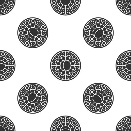Grey Astrology horoscope circle with zodiac icon isolated seamless pattern on white background. Vector Illustration 일러스트