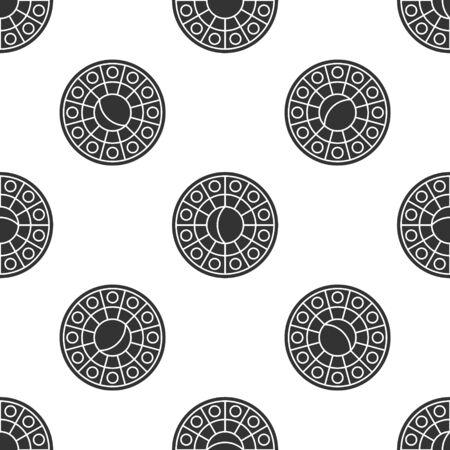 Grey Astrology horoscope circle with zodiac icon isolated seamless pattern on white background. Vector Illustration Illustration