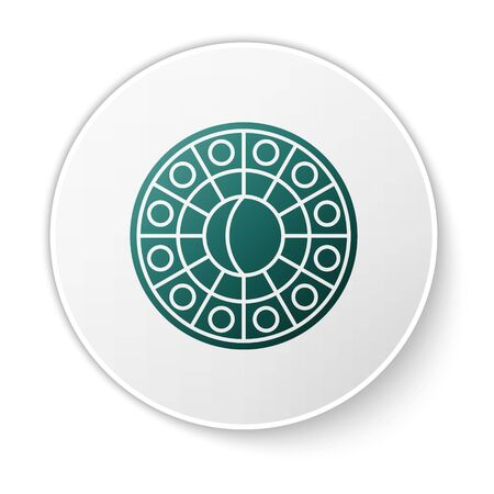 Green Astrology horoscope circle with zodiac icon isolated on white background. White circle button. Vector Illustration