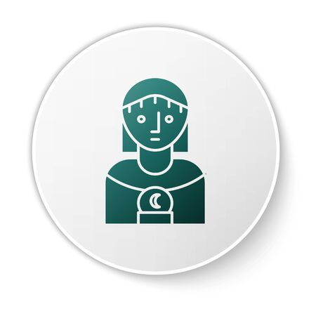 Green Astrology woman icon isolated on white background. White circle button. Vector Illustration