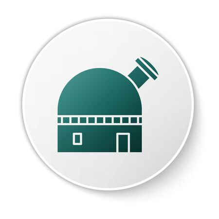 Green Astronomical observatory icon isolated on white background. White circle button. Vector Illustration