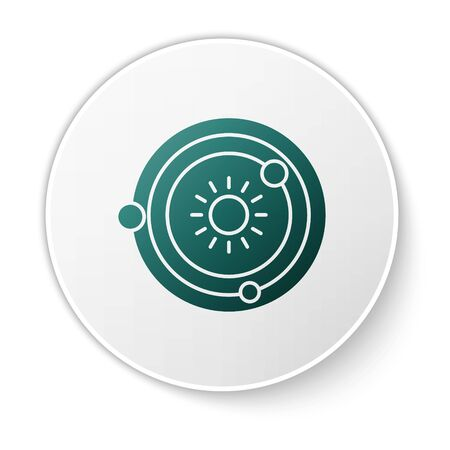 Green Solar system icon isolated on white background. The planets revolve around the star. White circle button. Vector Illustration