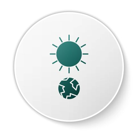 Green Solstice icon isolated on white background. White circle button. Vector Illustration