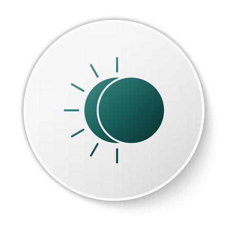 Green Eclipse of the sun icon isolated on white background. Total sonar eclipse. White circle button. Vector Illustration Stock Vector - 138422618