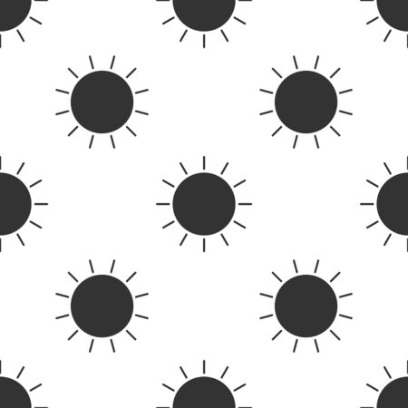 Grey Sun icon isolated seamless pattern on white background. Vector Illustration