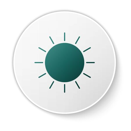 Green Sun icon isolated on white background. White circle button. Vector Illustration