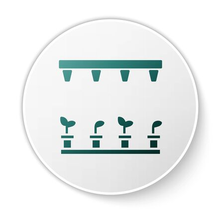 Green Automatic irrigation sprinklers icon isolated on white background. Watering equipment. Garden element. Spray gun icon. White circle button. Vector Illustration