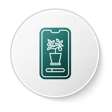 Green Smart control farming system mobile application icon isolated on white background. White circle button. Vector Illustration