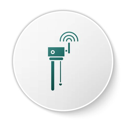 Green Router and wifi signal symbol icon isolated on white background. Wireless modem router. Computer technology internet. White circle button. Vector Illustration