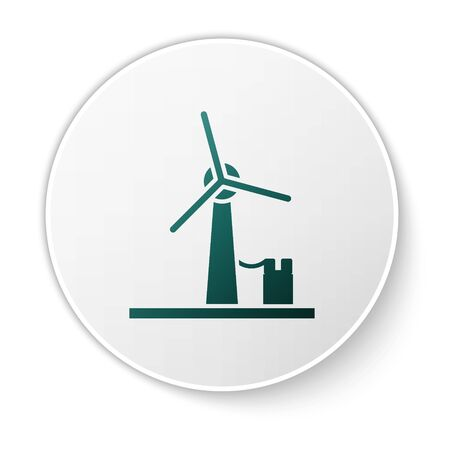 Green Wind turbine icon isolated on white background. Wind generator sign. Windmill for electric power production. White circle button. Vector Illustration