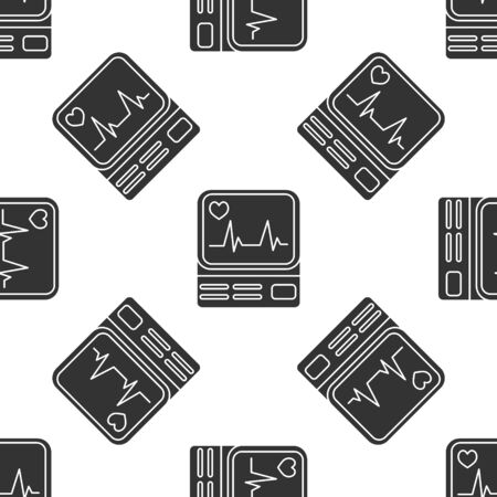 Grey Computer monitor with cardiogram icon isolated seamless pattern on white background. Monitoring icon. ECG monitor with heart beat hand drawn. Vector Illustration Ilustracja