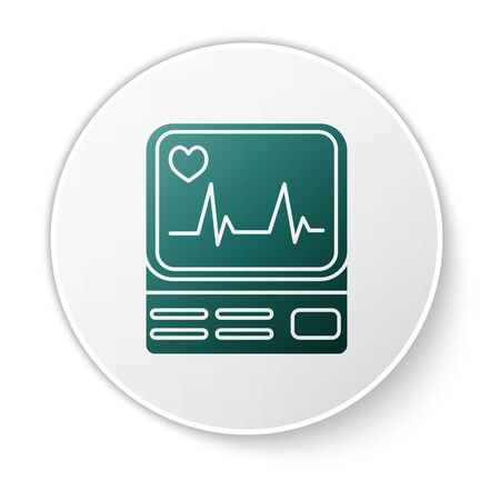 Green Computer monitor with cardiogram icon isolated on white background. Monitoring icon. ECG monitor with heart beat hand drawn. White circle button. Vector Illustration