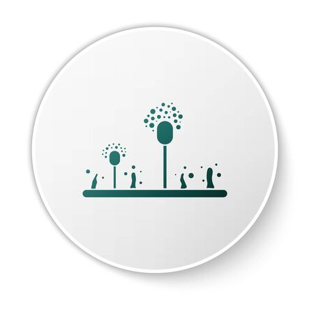 Green Mold icon isolated on white background. White circle button. Vector Illustration Illustration