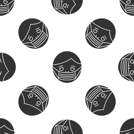 Grey Man face in a medical protective mask icon isolated seamless pattern on white background. Quarantine. Vector Illustration
