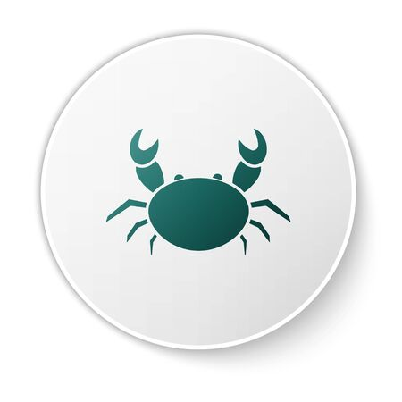Green Crab icon isolated on white background. White circle button. Vector Illustration