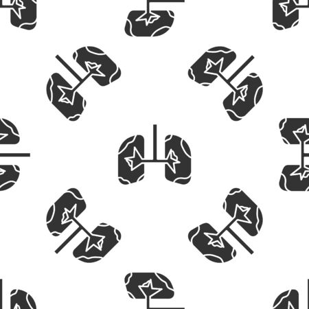 Grey Lungs icon isolated seamless pattern on white background. Vector Illustration