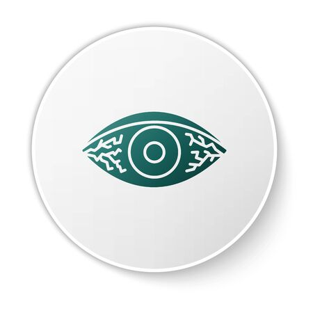 Green Reddish eye due to viral, bacterial or allergic conjunctivitis icon isolated on white background. White circle button. Vector Illustration