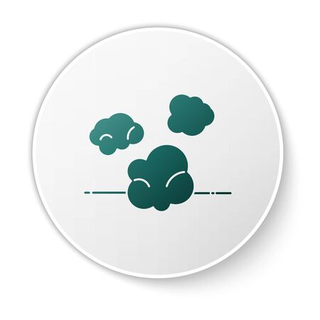 Green Dust icon isolated on white background. White circle button. Vector Illustration