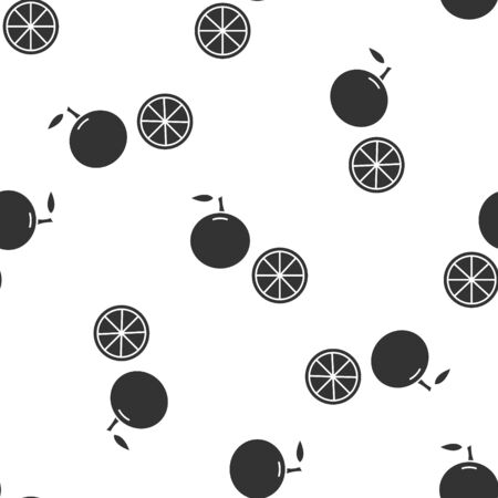 Grey Orange fruit icon isolated seamless pattern on white background. Vector Illustration Çizim