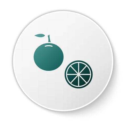 Green Orange fruit icon isolated on white background. White circle button. Vector Illustration