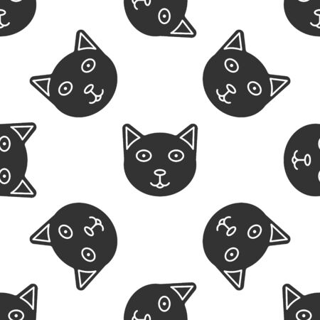 Grey Pet icon isolated seamless pattern on white background. Vector Illustration