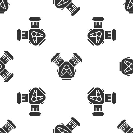 Grey Car engine icon isolated seamless pattern on white background. Vector Illustration