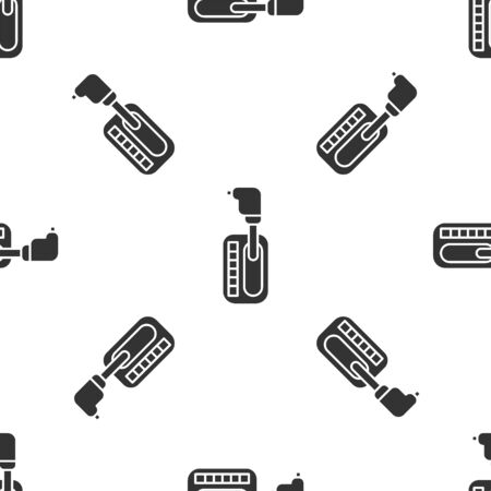 Grey Gear shifter icon isolated seamless pattern on white background. Transmission icon. Vector Illustration
