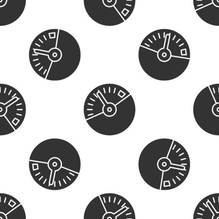 Grey Speedometer icon isolated seamless pattern on white background. Vector Illustration