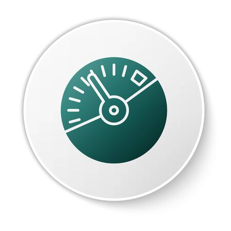 Green Speedometer icon isolated on white background. White circle button. Vector Illustration