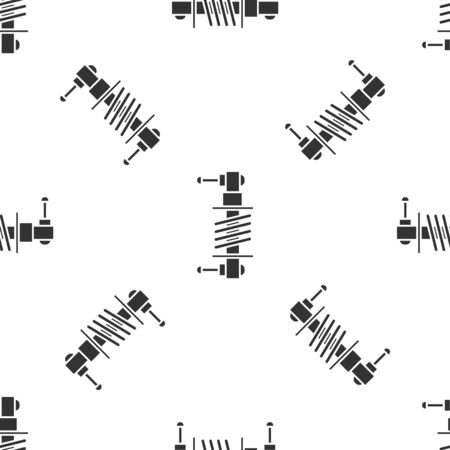 Grey Shock absorber icon isolated seamless pattern on white background. Vector Illustration