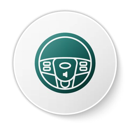 Green Steering wheel icon isolated on white background. Car wheel icon. White circle button. Vector Illustration