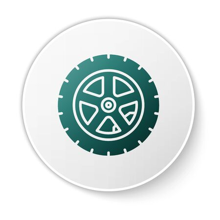 Green Car wheel icon isolated on white background. White circle button. Vector Illustration