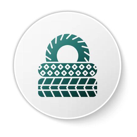 Green Car tire icon isolated on white background. White circle button. Vector Illustration Ilustração