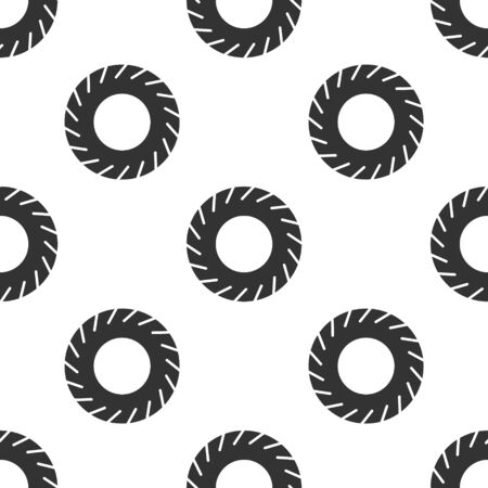 Grey Car tire icon isolated seamless pattern on white background. Vector Illustration