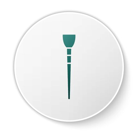 Green Makeup brush icon isolated on white background. White circle button. Vector Illustration Çizim