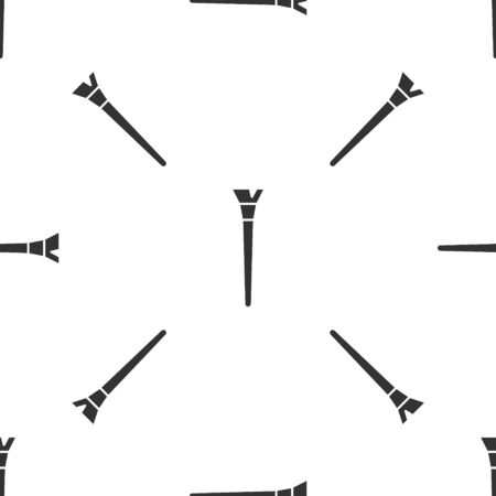 Grey Makeup brush icon isolated seamless pattern on white background. Vector Illustration