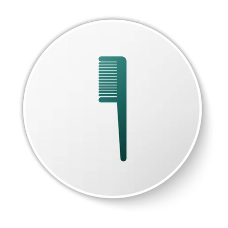 Green Hairbrush icon isolated on white background. Comb hair sign. Barber symbol. White circle button. Vector Illustration Иллюстрация