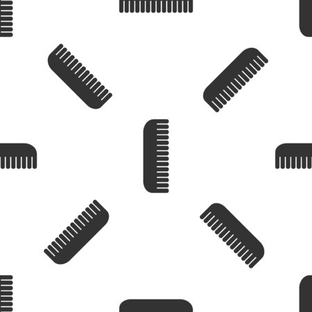 Grey Hairbrush icon isolated seamless pattern on white background. Comb hair sign. Barber symbol. Vector Illustration
