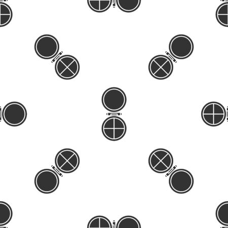 Grey Makeup powder with mirror icon isolated seamless pattern on white background. Vector Illustration