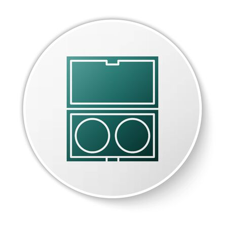 Green Makeup powder with mirror icon isolated on white background. White circle button. Vector Illustration